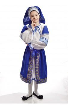 Костюм народный с синей поневой детский