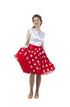 Платье в стиле 50-х белый горох и белый верх