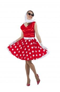 Платье в стиле 50-х белый горох и красный верх