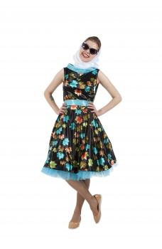 Платье в стиле 50-х с листочками черное