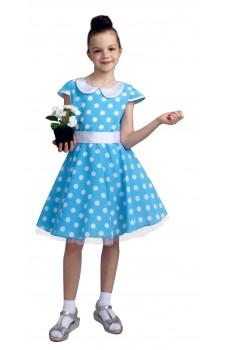 Платье стиляги для девочки голубое